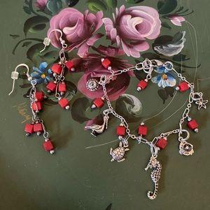 Vintage Beach Charm Bracelet & Matching Earrings